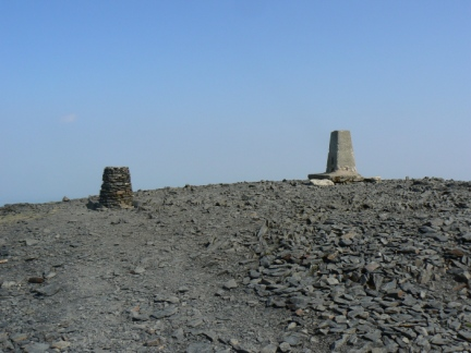 The view indicator and trig point on the summit of Skiddaw