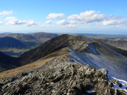 Looking along the ridge to Whiteside from Hopegill Head