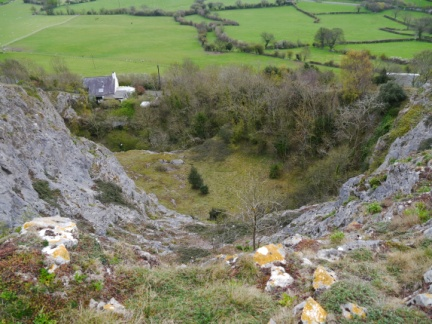 Looking down the quarry feet away from the obelisk