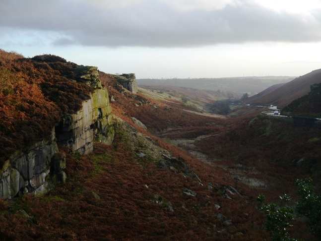 The gritstone outcrops above Hall Beck