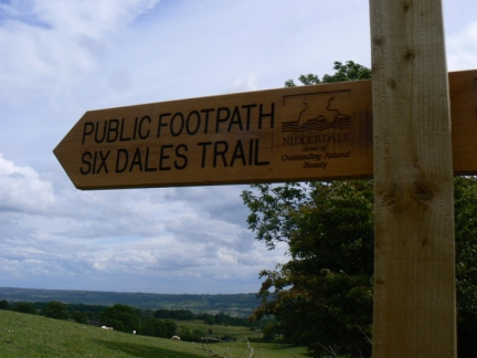 One of a number of signs for the recenlty launched Six Dales Trail