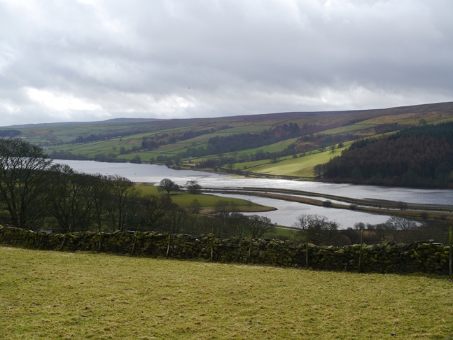 The view of Gouthwaite Reservoir from the byway climbing east from Bouthwaite