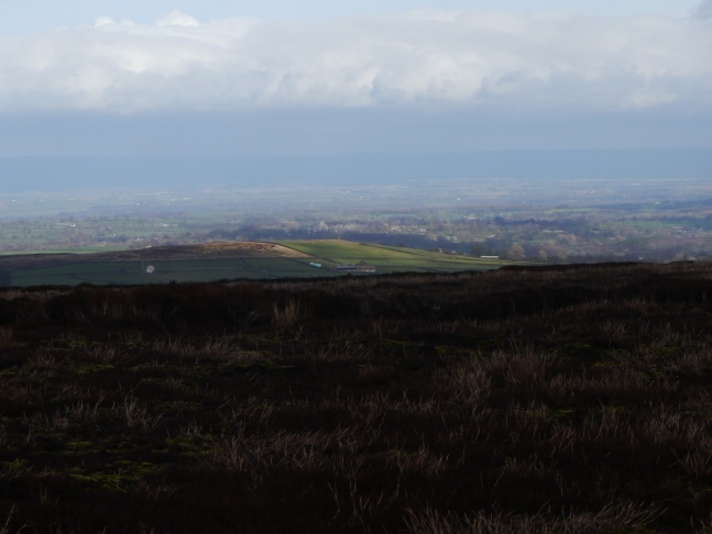 Looking east over Greygarth Hill to Kirkby Malzeard and the distant outline of the Hambleton Hills
