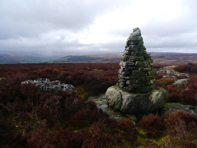 The well built cairn on the modest rocks of Jordan Crags on Sigsworth Moor