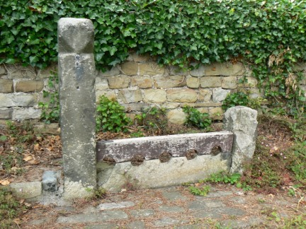 The village stocks in Leathley