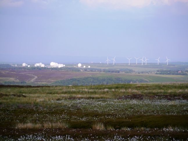 Looking across Rocking Moor towards Menwith Hill and Knabs Ridge Windfarm