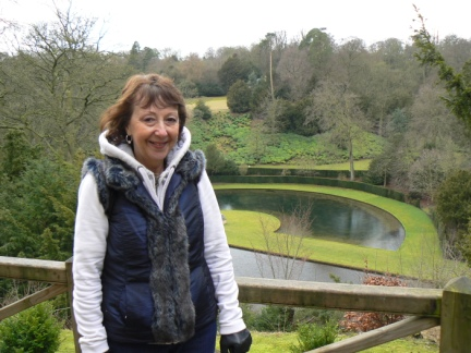 Mum with part of the Studley Royal Water Garden below