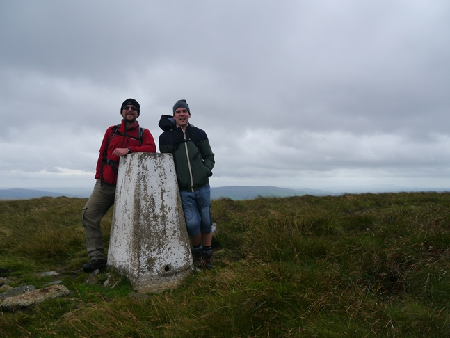 With Ed by the trig point on Meugher