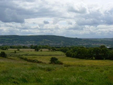 Looking across Otley to the wooded slopes of Otley Chevin