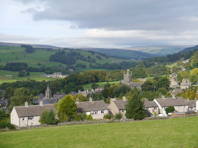 The view of Pateley Bridge and Nidderdale from the cemetery of St Mary's Church