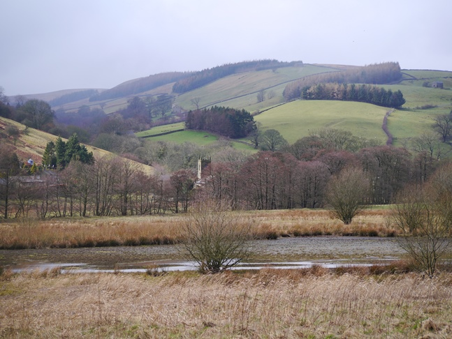 Looking across the top of Gouthwaite Reservoir to Ramsgill