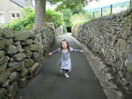 Rhiannon 'flying' up the start of the Panorama Walk