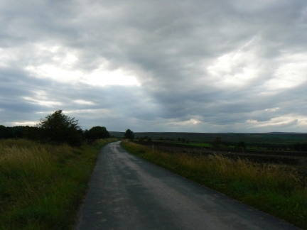 The minor road leading out of Timble