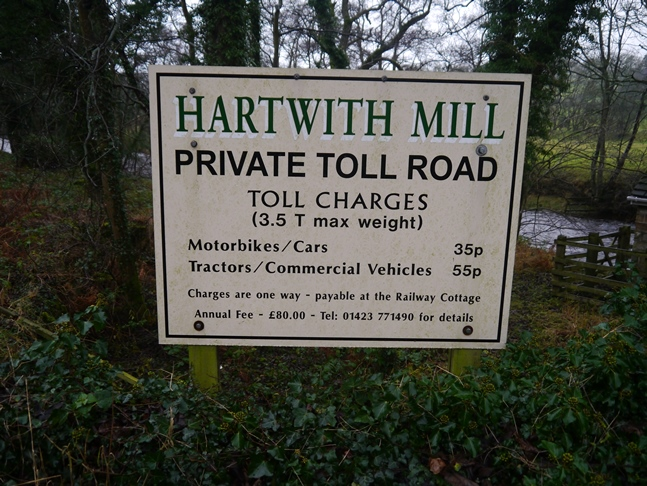 The charges for the toll road via Hartwith Mill