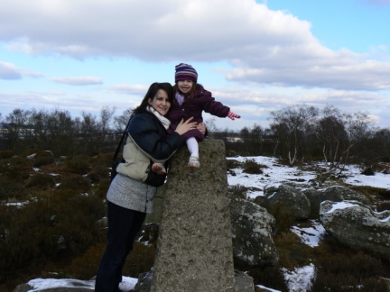 Lisa and Rhiannon on the Brimham Moor trig point