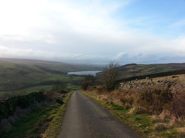 The beautiful view of Gouthwaite Reservoir and Nidderdale as I descended Wath Lane