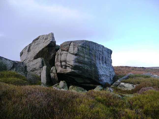 Some of the large gritstone boulders at Wolf Crags