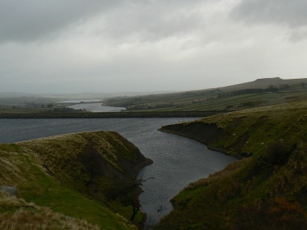Baldersdale Reservoirs with the profile of Goldsborough to the right