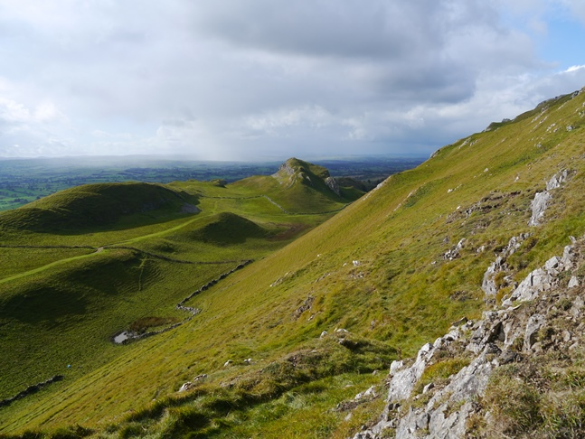 Looking down on Horse Shoe and Barnarm Scar from the climb up on to Mount Ida