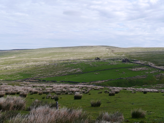 Carrshield Moor - note the ruined farmhouses in the centre right of the photo