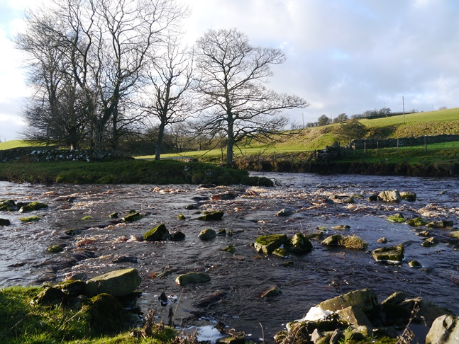 The confluence of Sleightholme Beck and the River Greta