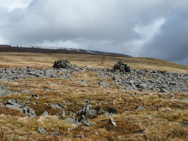 Looking between a pair of cairns to the bridleway climbing up to Cross Fell