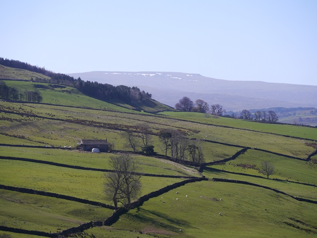 A zoom shot of Cross Fell which still had patches of snow on it