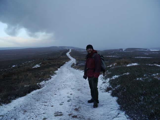 On the bridleway leading across Gilmonby Moor as the snow begins to ease off