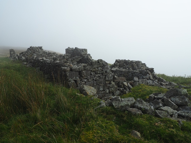 The ruins of High Shop which once provided accommodation to miners high above Scordale