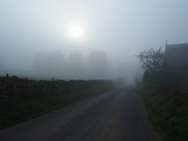 The fog moved in as we walked along the lane to Hilton