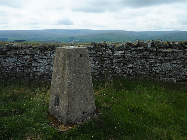 The trig point on Windy Hill, listed as Lintzgarth Common on the OS database