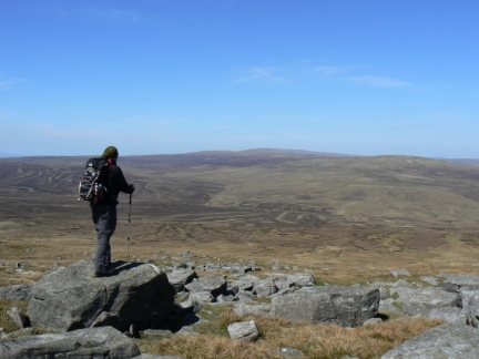 Matt looking towards Knock Fell and the Dun Fells