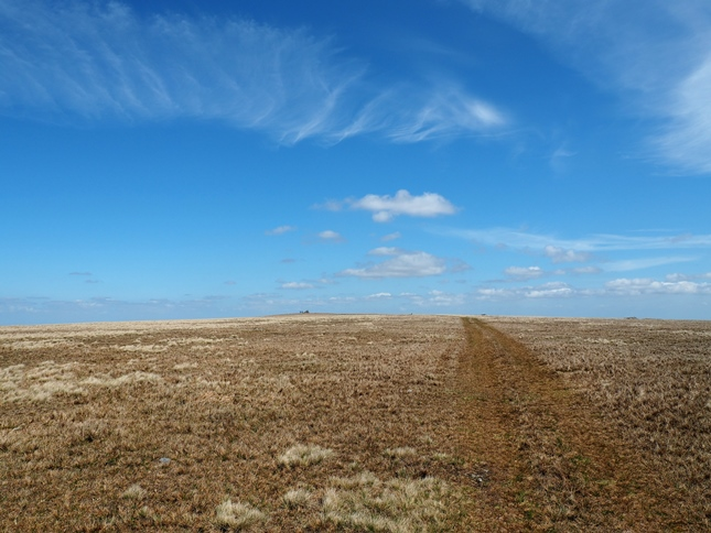 Following the path towards the summit of Mickle Fell