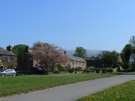 By Milburn village green looking up to Cross Fell