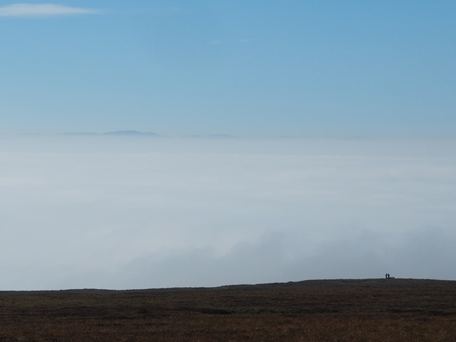 The tremendous temperature inversion over the Eden valley with Helvellyn just visible in the far distance