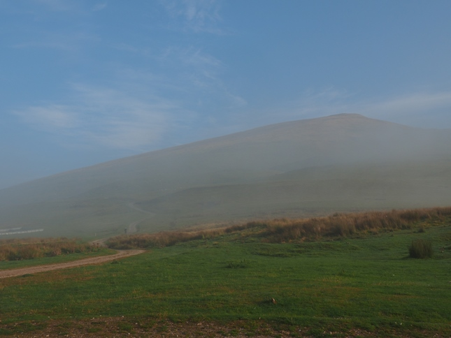 A thin layer of mist slightly obscured the view of Murton Pike at the start of the walk