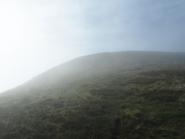 Climbing back out of the cloud as we neared the top of Murton Pike