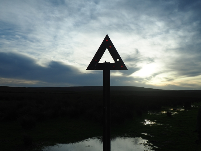 An old road sign on Sleightholme Moor Road