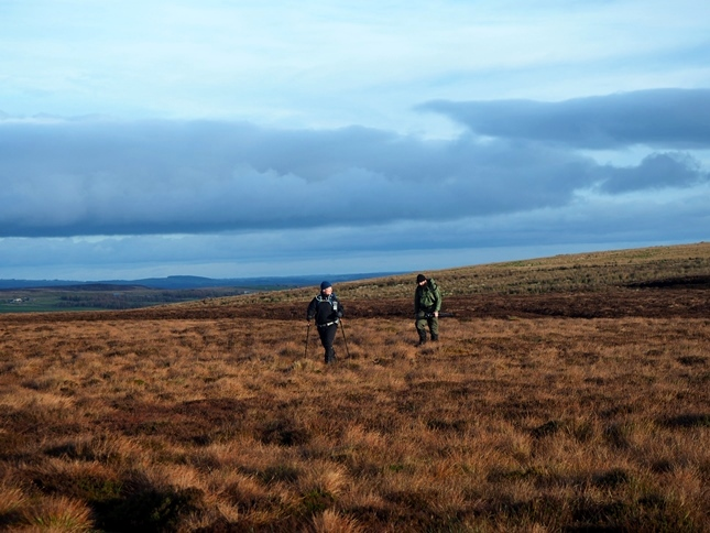 Paul and Graham making their way across Bowes Moor towards Collinson's Hill