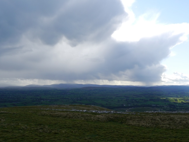 A rain shower passing south over the Howgill Fells