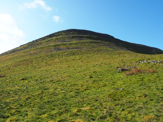 Looking up the steep slopes of Roman Fell