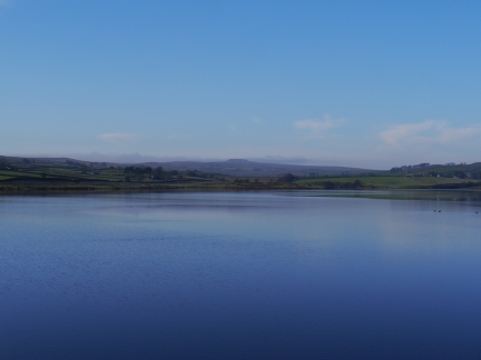 Looking along Hury Reservoir to a distant Shacklesborough