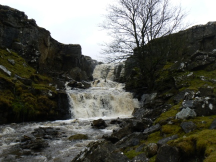 The impressive waterfall just off the path below Spur Rigg