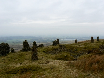 Some of the numerous cairns on Talkin Fell