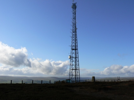 The mast and trig point on Collier Law