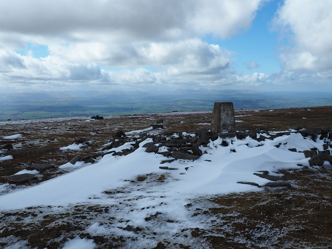 The trig point on the top of Cross Fell