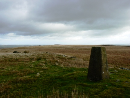 The trig point on West Hare Crag
