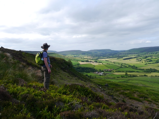 Enjoying the view of Bilsdale from near Crookleth Crags