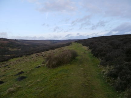 The grassy path leading on to Hutton Ridge