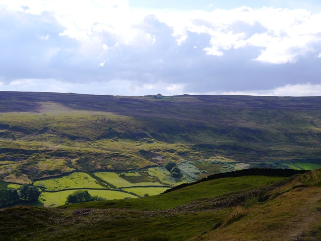 Looking across Rosedale to the Lion Inn perched high on Blakey Ridge